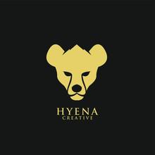 Hyena Face Head Gold Black Logo Icon Design Vector Illustration