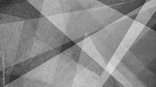 Fotografia, Obraz Abstract black and white background with geometric striped and triangle patterns