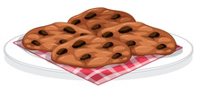 Cookies With Chocolate Chips On A Plate