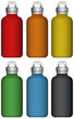 Water bottles in six different colors