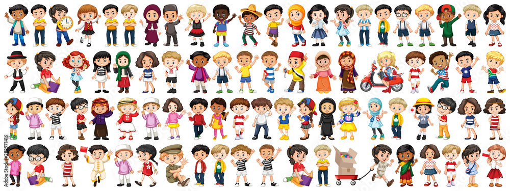 Fototapety, obrazy: Children with different nationalities on white background