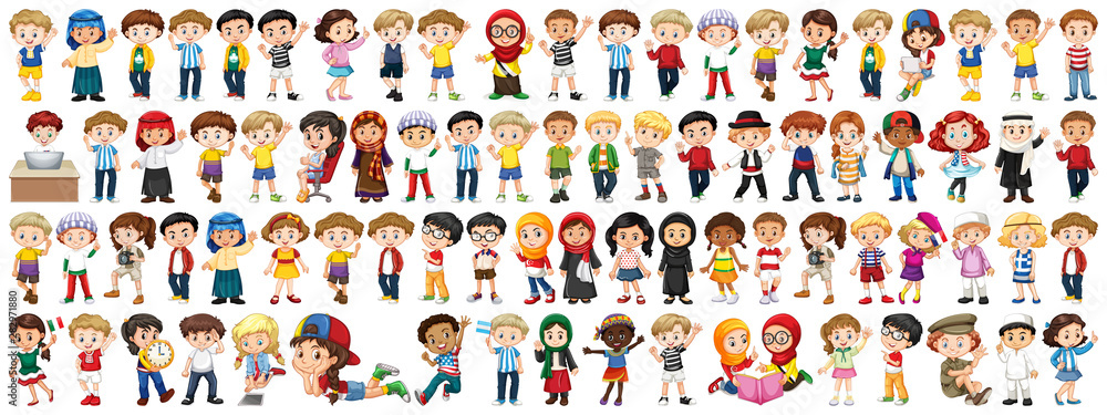 Fototapeta Children with different nationalities on white background
