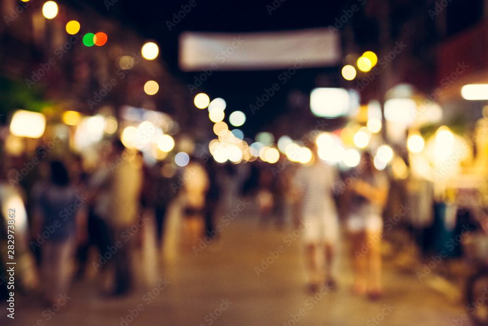 Fototapety, obrazy: Blur with bokeh of night market at the city