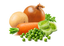 Potato, Onion, Carrot, Leek And Green Peas Isolated On White Background