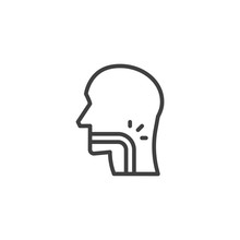 Throat Pain Line Icon. Linear ...