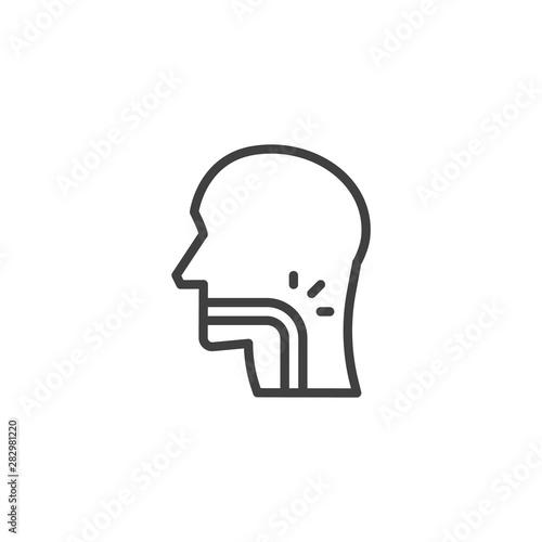 Fotografía Throat pain line icon