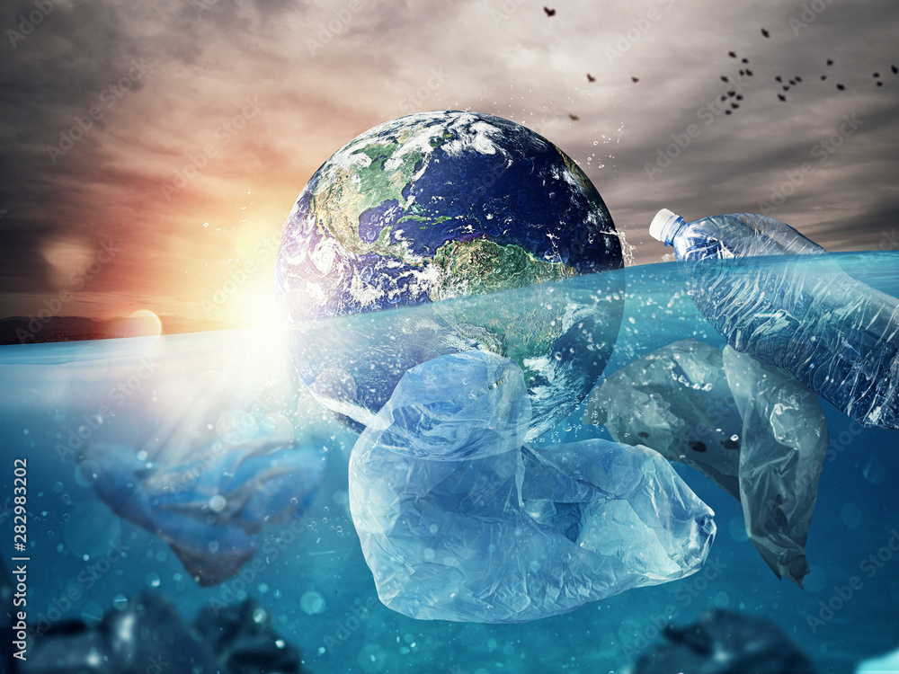 Fototapety, obrazy: The Earth floats in the sea full of plastic. Save the World. World provided by NASA.