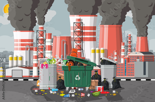 Fototapety, obrazy: Plant smoking pipes. Smog in city. Trash emission from factory. Grey sky polluted trees grass. Garbage bin full of trash. Environmental pollution ecology nature. Vector illustration flat style