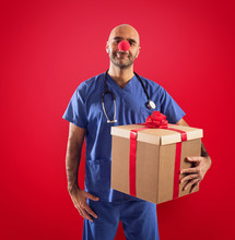 Nurse With Clown Nose And Gift...