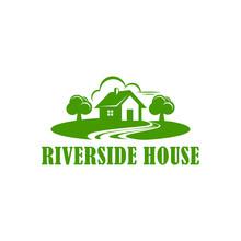 Green Riverside House Logo Vector