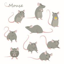 Cute Mouse Character Set. Flat...