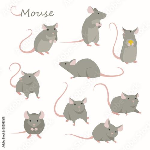 Obraz na plátně Cute mouse character set