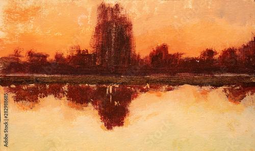 Türaufkleber Violett rot landscape, oil painting, hand made