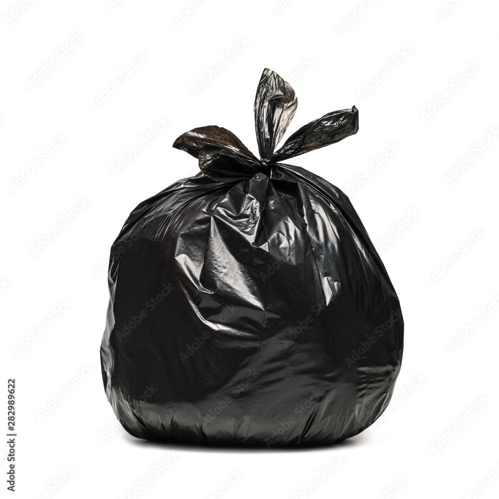 Fototapeta Czarny worek na śmieci na białym tle