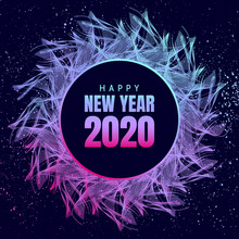 Happy New Year 2020 Neon Poster With 3d Snowflake And Confetti. Wave Of Many Colored Lines Circle Frame.