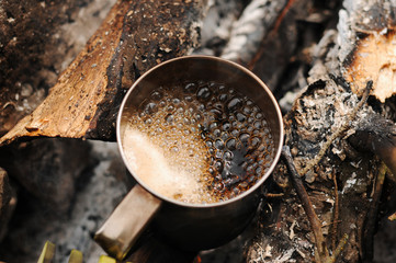 Aromatic and hot coffee on ...