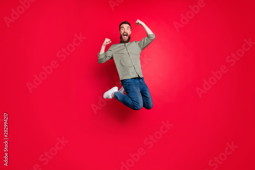 Full length body photo of crazy cheerful overjoyed man wearing jeans denim cloth Canvas Print