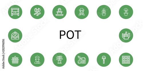 Fotografia Set of pot icons such as Potting bench, Carnivorous plant, Flower pot, Gardener,