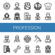 Set of profession icons such as User, Firewoman, Officer, Policewoman, Nurse, Firefighter uniform, Driver, Chef hat, Pilot, Doctor, Supervisor, Wrench, Role, Office worker , profession