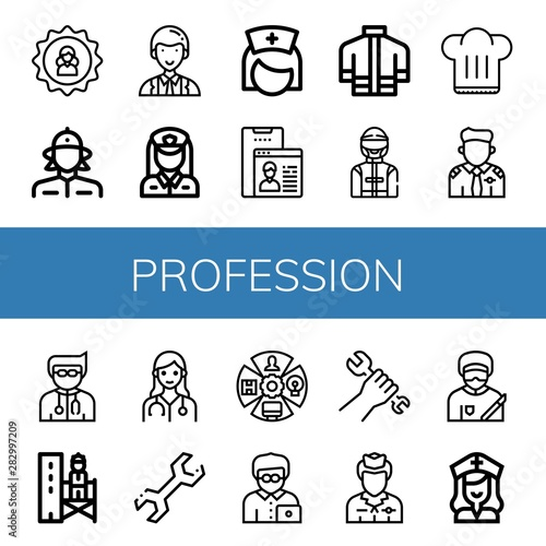 Fototapeta Set of profession icons such as User, Firewoman, Officer, Policewoman, Nurse, Firefighter uniform, Driver, Chef hat, Pilot, Doctor, Supervisor, Wrench, Role, Office worker , profession obraz na płótnie
