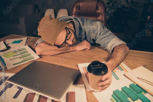 Stampa su Tela  Photo of working at dark time boss guy fell asleep hot coffee beverage not helpi