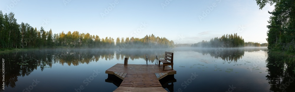 Fototapeta Misty morning in eastern Finland