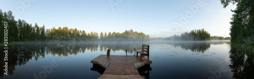 Foto op Plexiglas Blauwe hemel Misty morning in eastern Finland