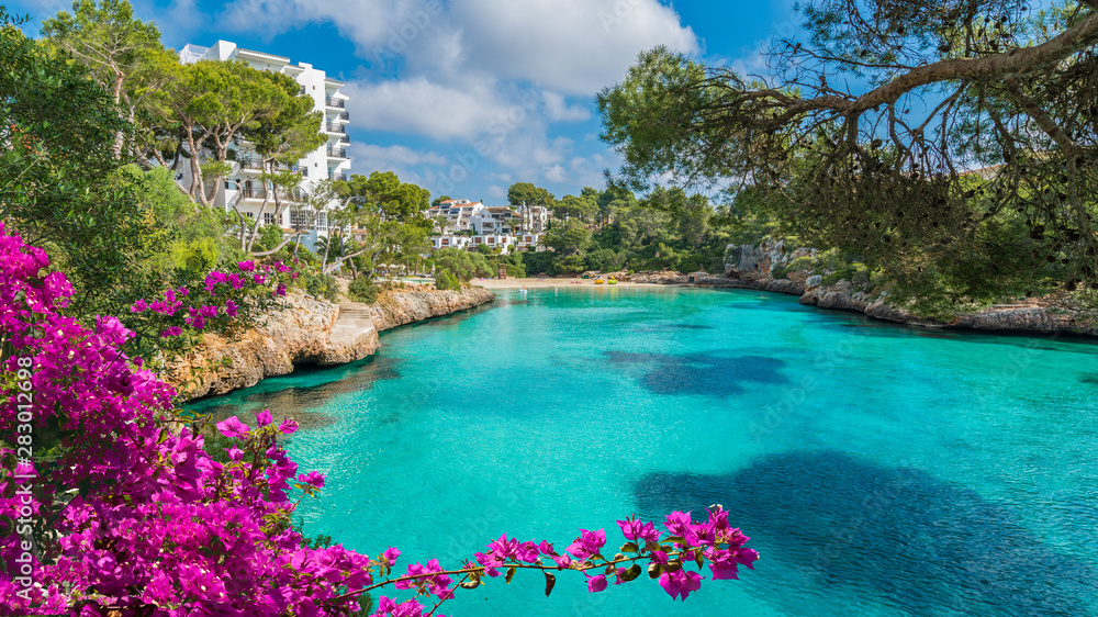 Fototapety, obrazy: Cala Dor bay at Cala d'Or city, Palma Mallorca Island, Spain