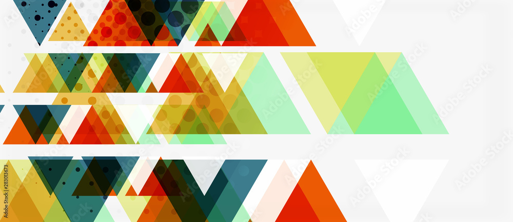 Fototapety, obrazy: Banner with multicolored mosaic triangle geometric design on white background. Abstract texture. Vector illustration design template.