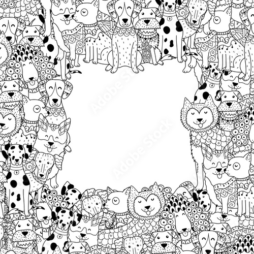 Black and white frame with funny dogs in coloring page style