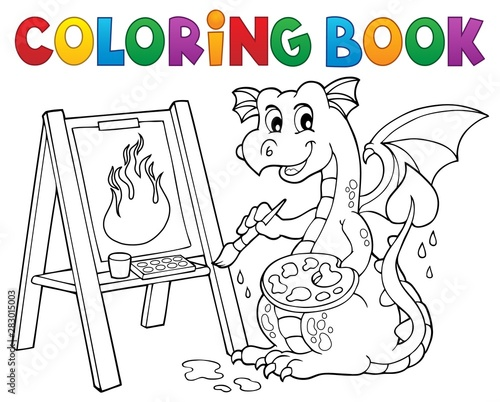 Poster de jardin Enfants Coloring book painting dragon theme 2