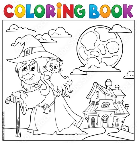 Fotobehang Voor kinderen Coloring book witch with cat topic 2