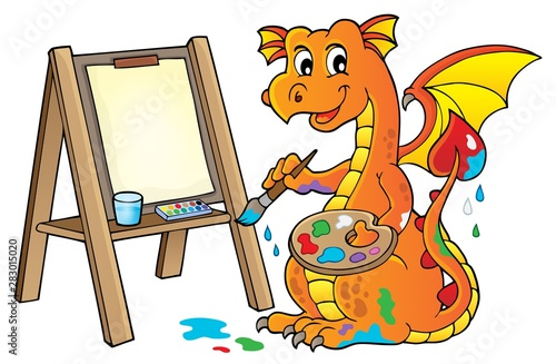 In de dag Voor kinderen Painting dragon theme image 2
