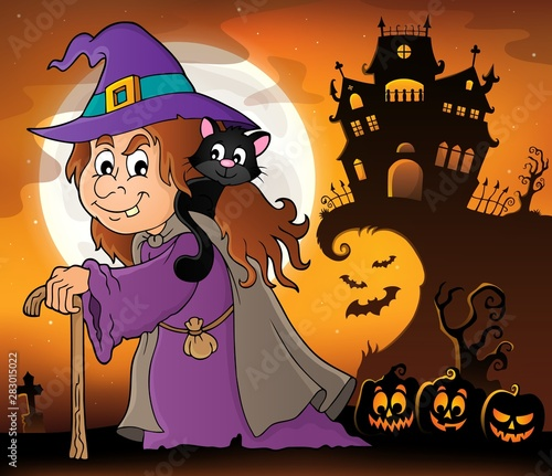 Fotobehang Voor kinderen Witch with cat topic image 4