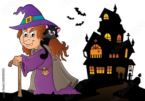 Ingelijste posters Voor kinderen Witch with cat topic image 5