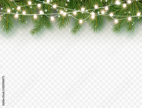 Vászonkép  Border with green fir branches and lights isolated on transparent background