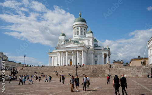 Canvas Print Beautiful Architecture of Helsinki Cathedral and monument to Russian Emperor Alexander II in the Old Town of Helsinki, Finland on the Senate Square