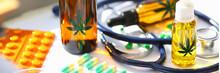 Marijuana Oil Medicinal Pills With Stethoscope