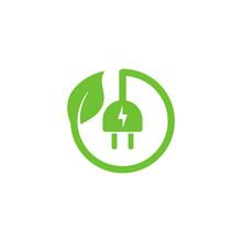 Eco Green Electric Plug Icon Symbol Vector Design With Leaf