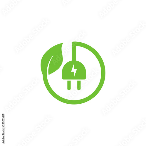 Cuadros en Lienzo eco green electric plug icon symbol vector design with leaf