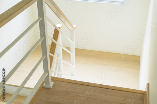 Photo Stands Stairs House Interior - the wood stairs and handrail