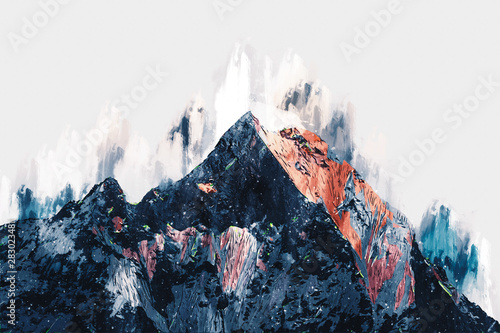 fototapeta na drzwi i meble Abstract painting of colorful mountains, Digital painting