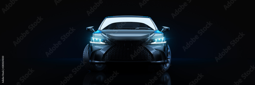 Fototapety, obrazy: Sports car, studio setup, on a dark background. 3d rendering