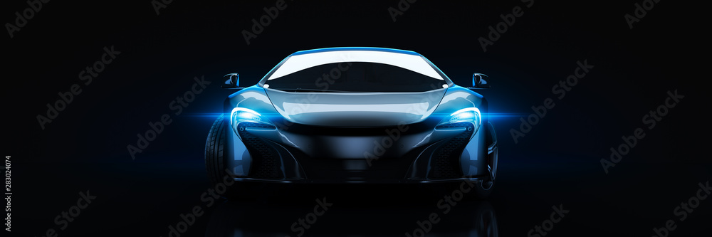 Fototapeta Sports car, studio setup, on a dark background. 3d rendering