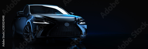 Sports car, studio setup, on a dark background. 3d rendering
