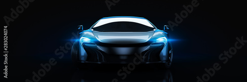 Sports car, studio setup, on a dark background. 3d rendering Canvas Print