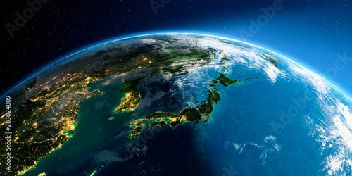 Canvas Print Detailed Earth. Part of Asia, Japan and Korea, Japanese sea