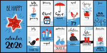 Modern Style Hand Drawn Cartoon Vector 2020 Calendar With Monthly Symbols In Cool Colors