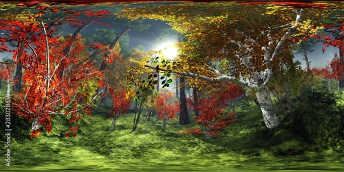Foto op Aluminium Pistache Autumn abstraction. HDRI, environment map , Round panorama, spherical panorama, equidistant projection, 360 high resolution panorama