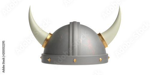 Fotografie, Tablou  Viking helmet with horns isolated cutout against white background